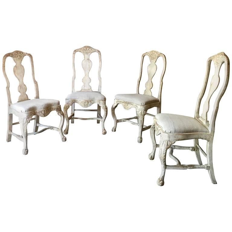Set of Four 18th Century Swedish Rococo Period Swedish Chairs