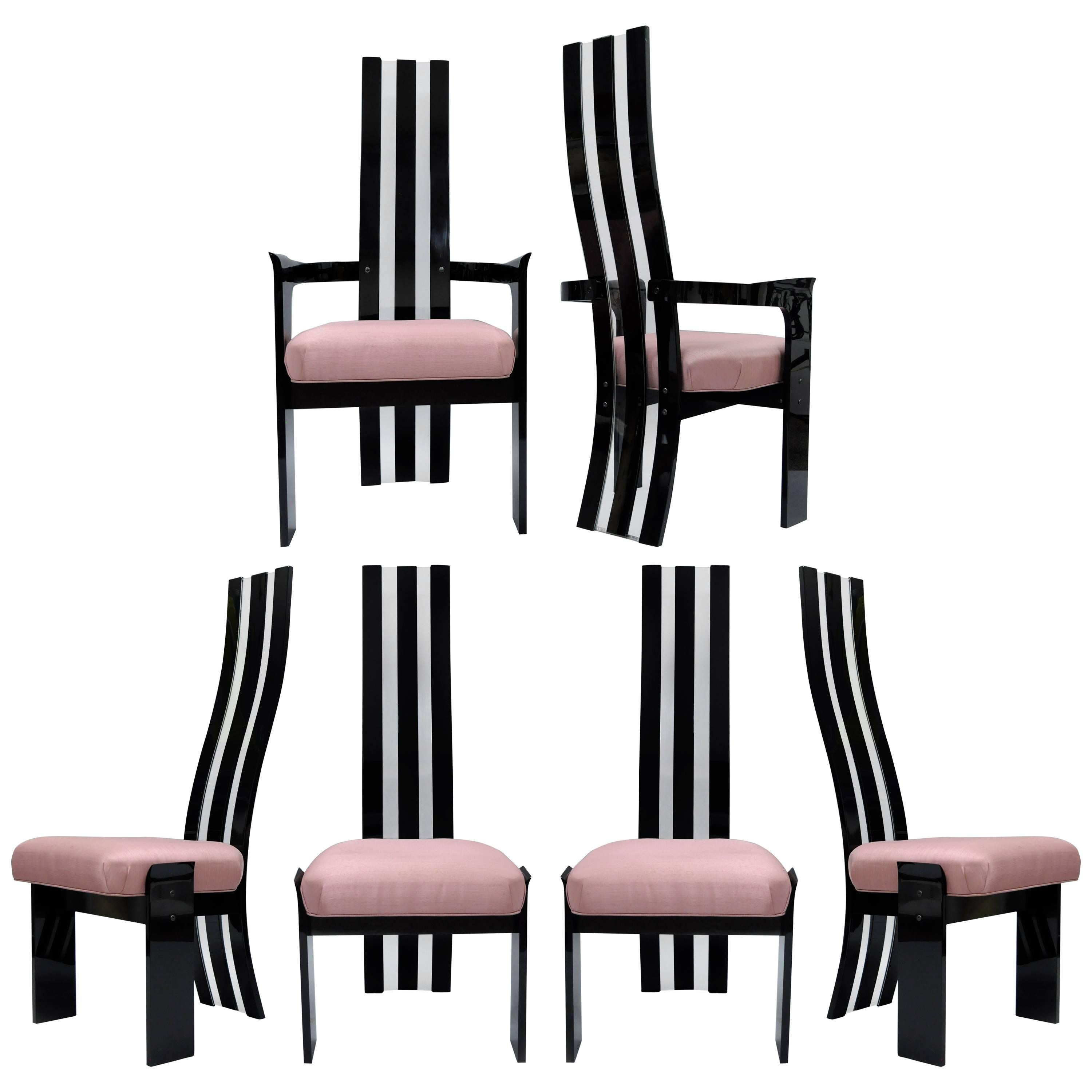 Set of 6 Hill Mfg Mid Century Modern Black Clear Lucite Sculptural Dining Chairs