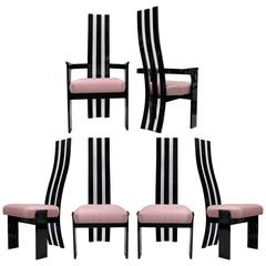 Set of Six Postmodern Black and Clear Lucite Sculptural Dining Chairs, Hill Mfg.
