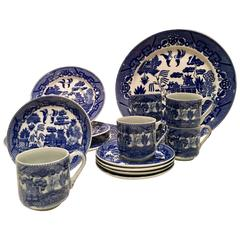 Antique Japanese Blue Willow Ironstone Dinnerware Set of 15
