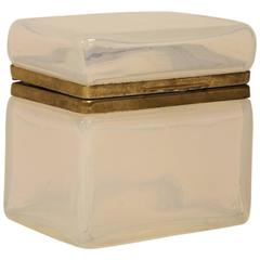 Antique French White Opaline Glass Box, More Available