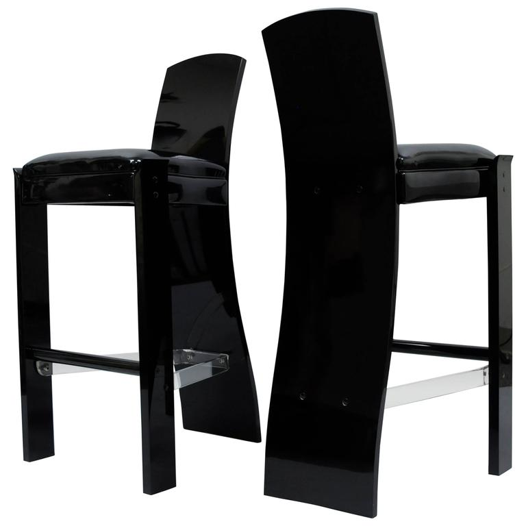 Pair of Black Lucite Hill Mfg. Sculptural Bar Stools after Charles Hollis Jones