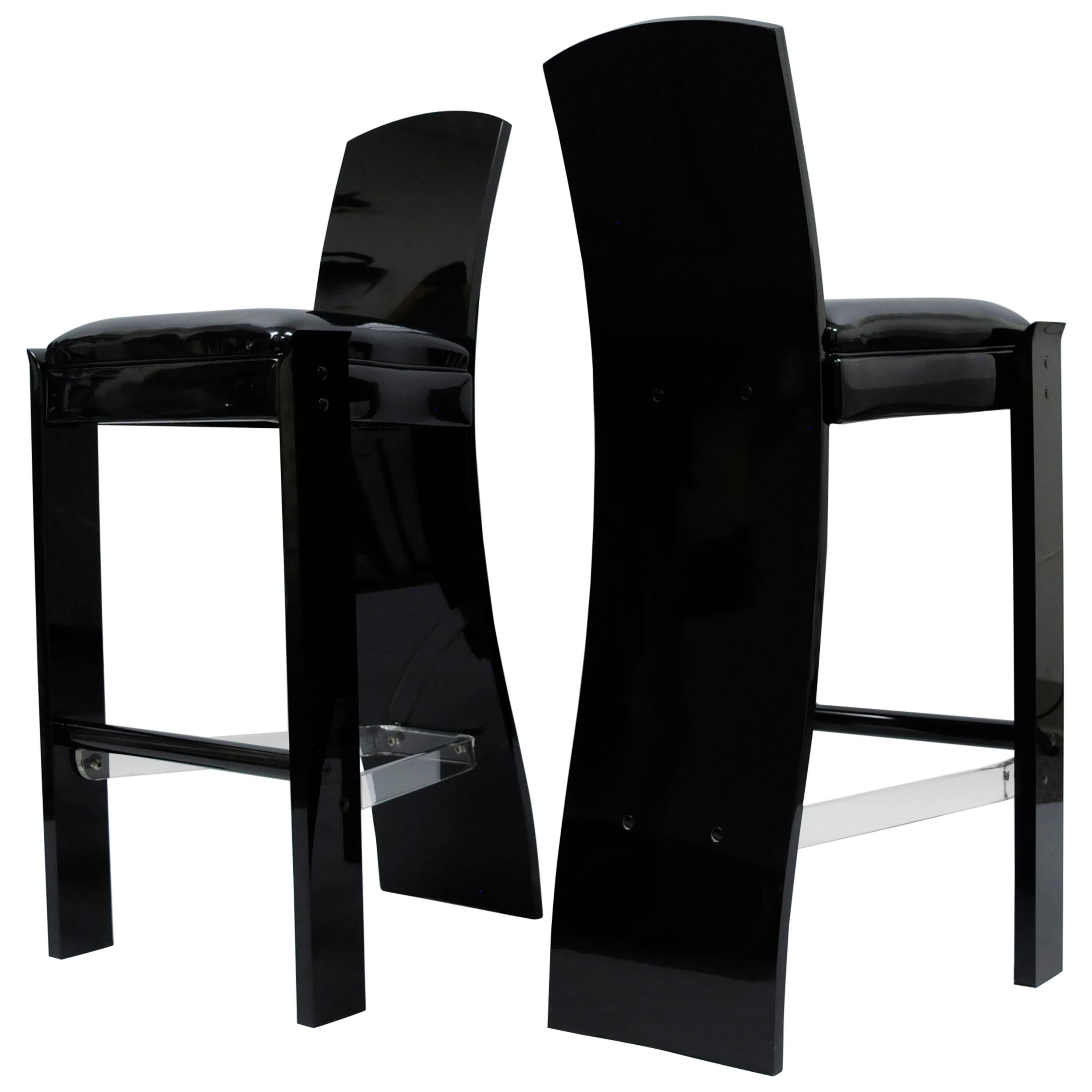 Pair of Black Lucite Hill Mfg. Mid Century Modern Curved Sculptural Bar Stools