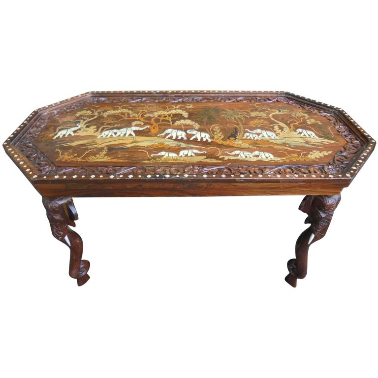 Antique Anglo-Indian Inlaid Hardwood Coffee Table For Sale