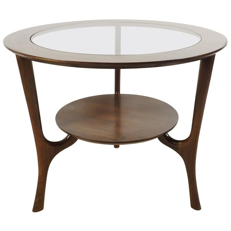 Round Side Table In Walnut With Glass Insert For Sale At