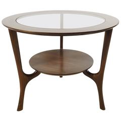Round Side Table in Walnut with Glass Insert