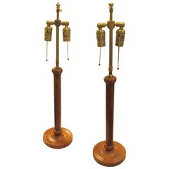 Pair of Leather Braided Candlestick Lamps