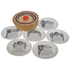 Set of Six French White Ironstone Plates Printed with French Meat Recipes