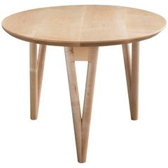 Hair Pin End Table, Round Maple Hardwood