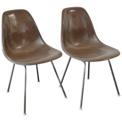 Pair of Charles Eames Side Shell Fiberglass Chairs