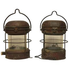 Antique Copper And Brass Ship Lights By Nippon Sento CO Ltd