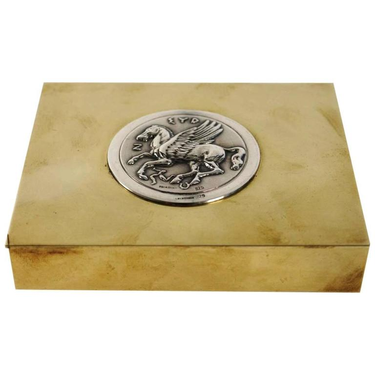 Rare Pegasus Cigarette Box by Lalaounis, Brass and Silver, 1970s