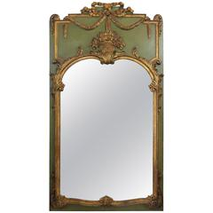 Italian Carved and Gilt Trumeau Mirror