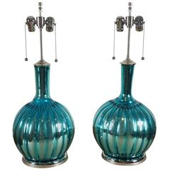Pair of Mercury Lamps in Aqua Blue