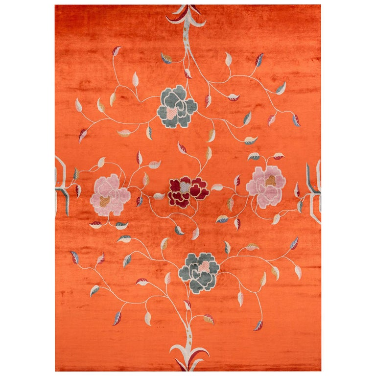 Contemporary Floral Rug by Carini For Sale