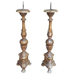 Pair of 17th Century Spanish Giltwood Prickets