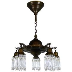 Five-Light Pan Fixture Finished with Crystals