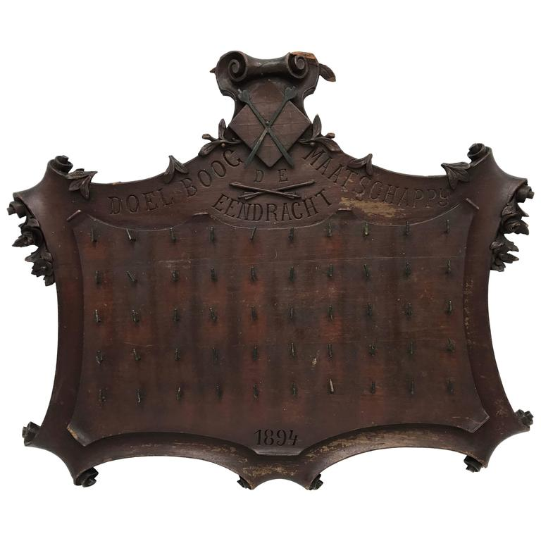 19th Century Mahogany Archery Trophy Board
