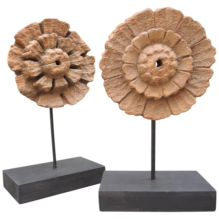 Two Early 19th Century Carved Wood Sunburst Halos Mounted on Stands