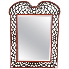 Hollywood Regency Mirror with Lattice Border
