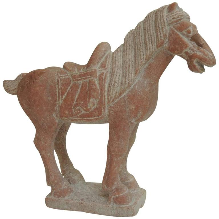 Large vintage asian hand carved horse marble sculpture for