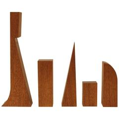 Mid-Century Architect Geometric Wood Objects