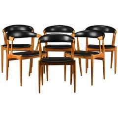 1960s Johannes Andersen Model BA 113 Dining Chairs - Teak and Black Leatherette