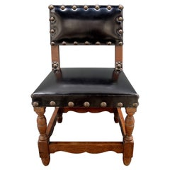 Jacobean Style Black Leather Childs Chair