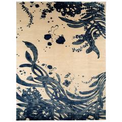 'Sea Tangle' Blue and White Floral Area Rug