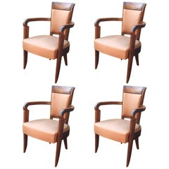 Baptistin Spade, Set of Four Art Deco Mahogany Armchairs