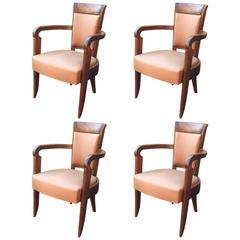 Baptistin Spade, Set of Four Art Deco Mahogany Armchairs