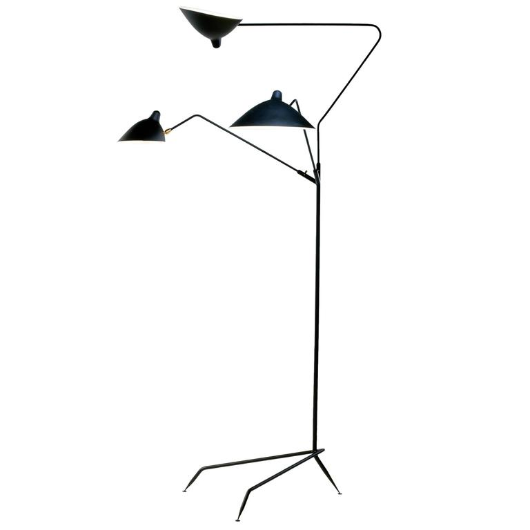 Standing lamp with three arms by serge mouille for sale at 1stdibs - Serge mouille three arm floor lamp ...