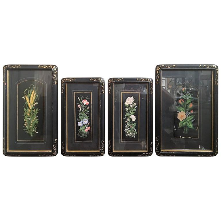 Set of Four Framed Botanical Prints, 19th Century