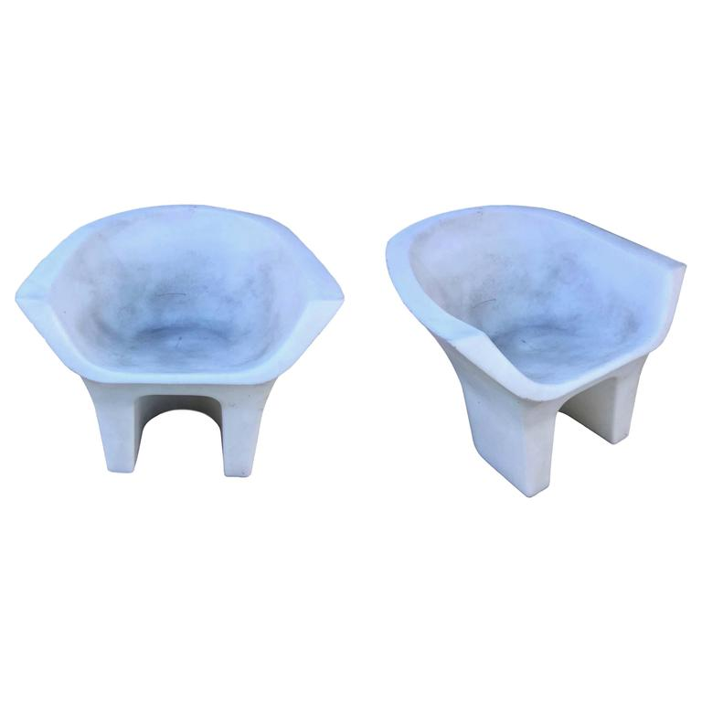 Molded Plastic Patio Furniture.Pair Of Sculptural Molded Plastic Outdoor Chairs