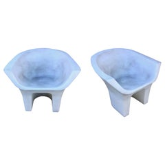 Pair of Sculptural Molded Plastic Outdoor Chairs
