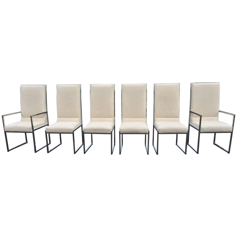 set of six chrome dia dining room chairs attributed to milo baughman
