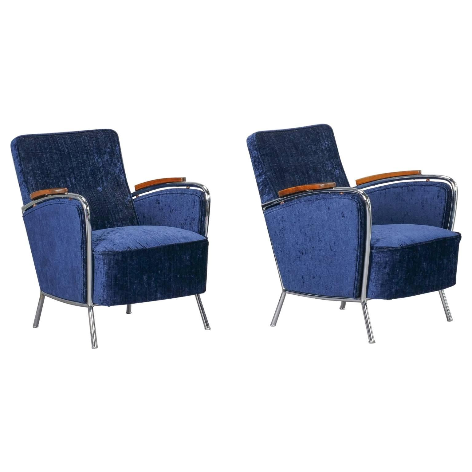 Pair of Bauhaus Steel and Wood Club Chairs