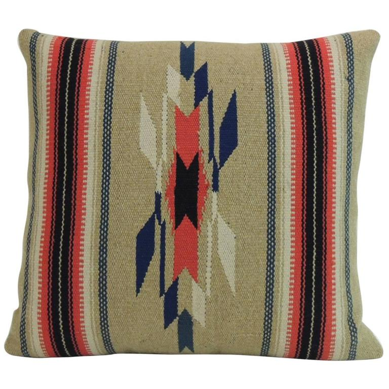 Vintage Southwestern Pillow : Vintage Square Southwestern Woven Wool Decorative Pillow For Sale at 1stdibs