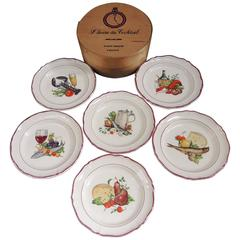 Set of Six Vintage French Cocktail Plates in the Original Bentwood Box