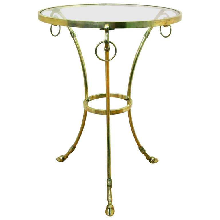Mid-Century Modern Brass Gueridon Occasional Table Attributed to Maison Jansen