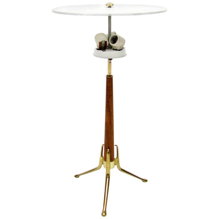 Walnut and Brass Tripod Lamp by Gerald Thurston for Lightolier 2