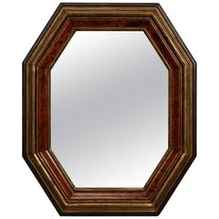 Dutch Octagonal Faux Burr Wood Framed Mirror