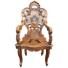 19th Century, Black Forest Ceremonial Armchair in Walnut and Carved Wood