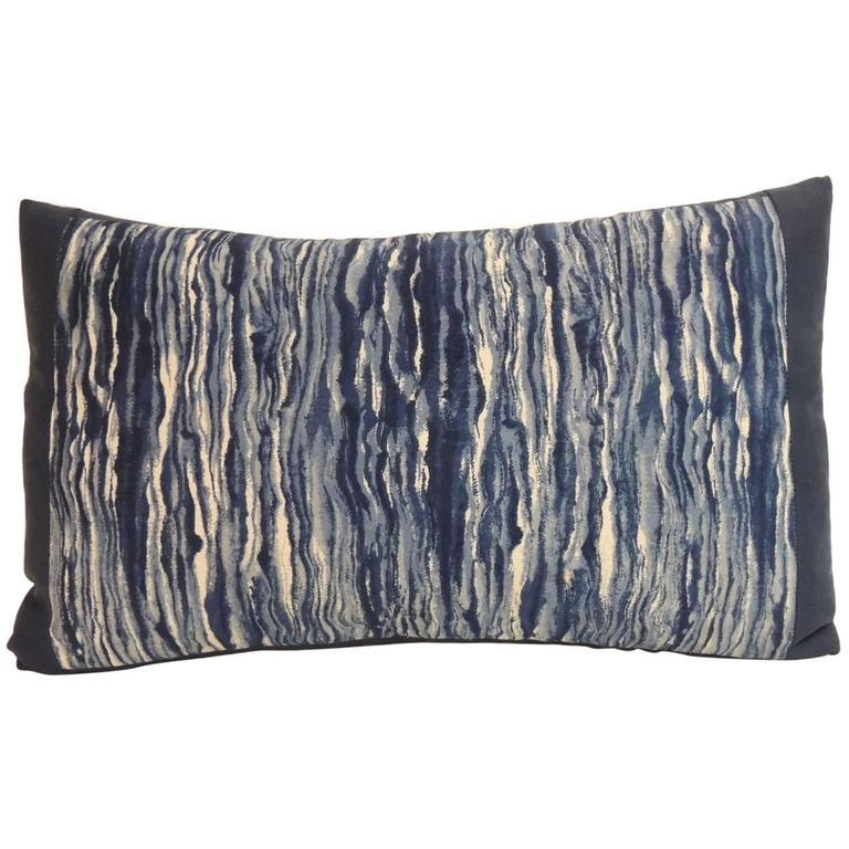 Vintage Blue and White Shibori Japanese Decorative Lumbar Pillow at 1stdibs
