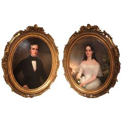 "Oil on Canvas Pair of Oval Portraits ""Lady and Gentleman,"" 19th Century"