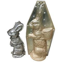 Pair of Substantial Vintage Bunny Rabbit Chocolate Molds