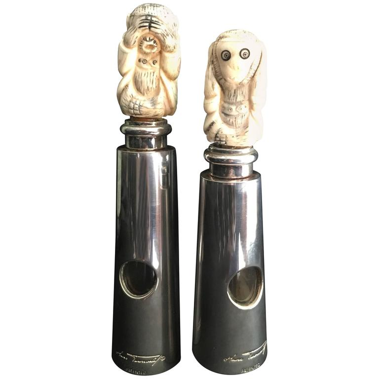 Hans Turnwald Art Carved Bone Salt and Pepper Shakers / Grinders For Sale