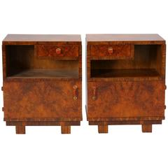 Pair of Deco Burl Wood Bedside Cabinets with Bakelite Handles