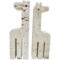 Pair of Giraffe Bookends in Travertine by Fratelli Mannelli
