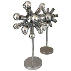 Pair of Mid-Century Modern American Chrome Sputnik Table Lamps, Torino Style